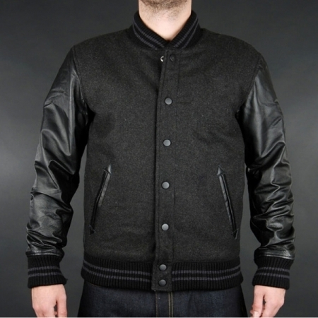 wool varsity jackets with leather sleeves